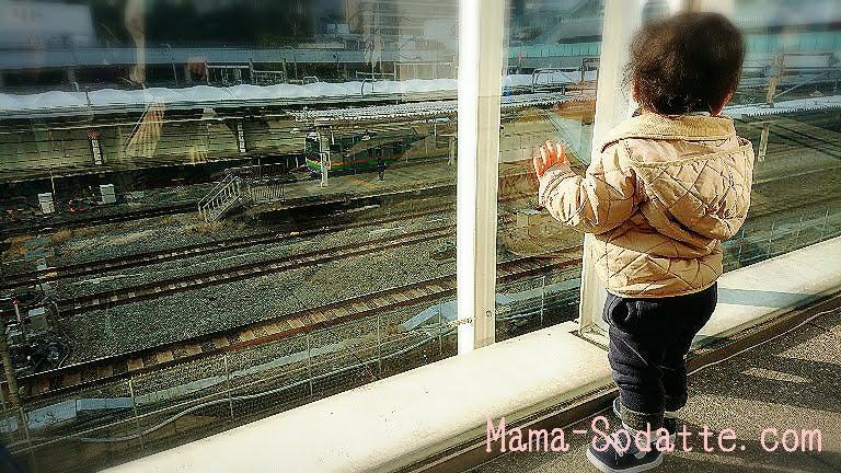 新宿駅で線路を見つめる息子