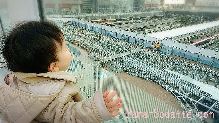 新宿駅で正面から線路や電車を見る息子