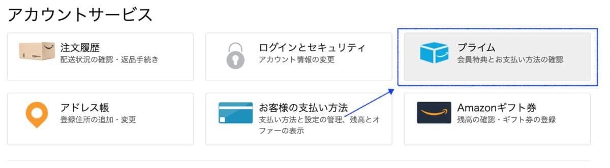 Amazonプライム会員のアカウントページ