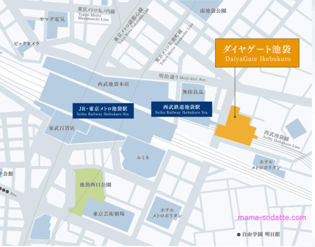 ダイヤゲート池袋の地図(公式サイト画像)