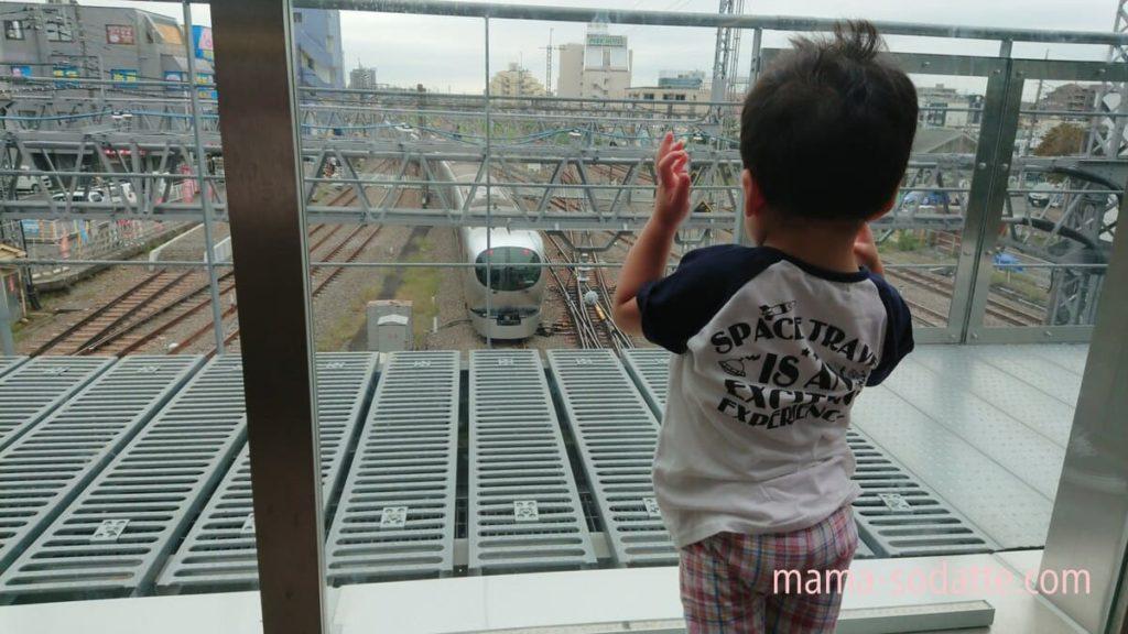 所沢駅南改札屋外デッキから見えた特急ラビュー