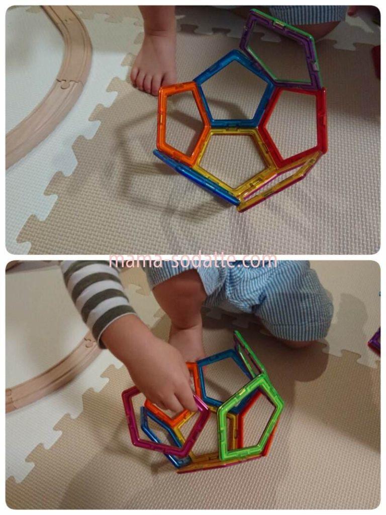 マグフォーマーの五角形パーツを使って立体を作る様子